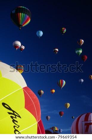 Hot Air Balloons Fill the Blue Sky Southwest Balloon Festival Race