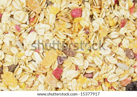 Muesli Background Including Berries  Raisins  Grains and Fruits