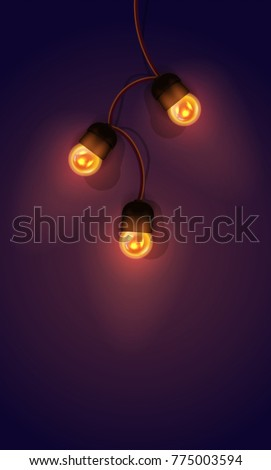 Realistic color  illustration. Isolated glowing light bulb garland on gradient background. Template for greeting card to holiday.
