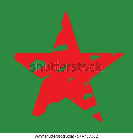 Isolated red star on a green background hand-drawn  military style  vector illustration