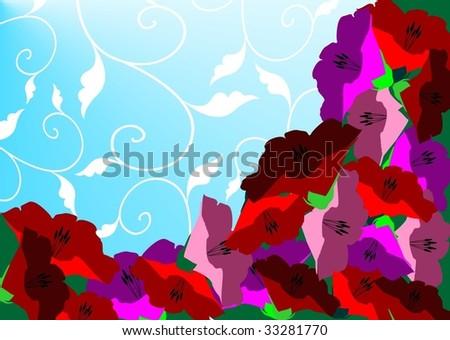 vector flower blue card
