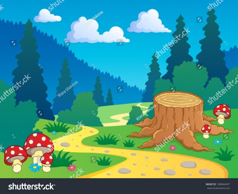 卡通森林景观7 -矢量插图.-自然,公园/户外-海洛创意