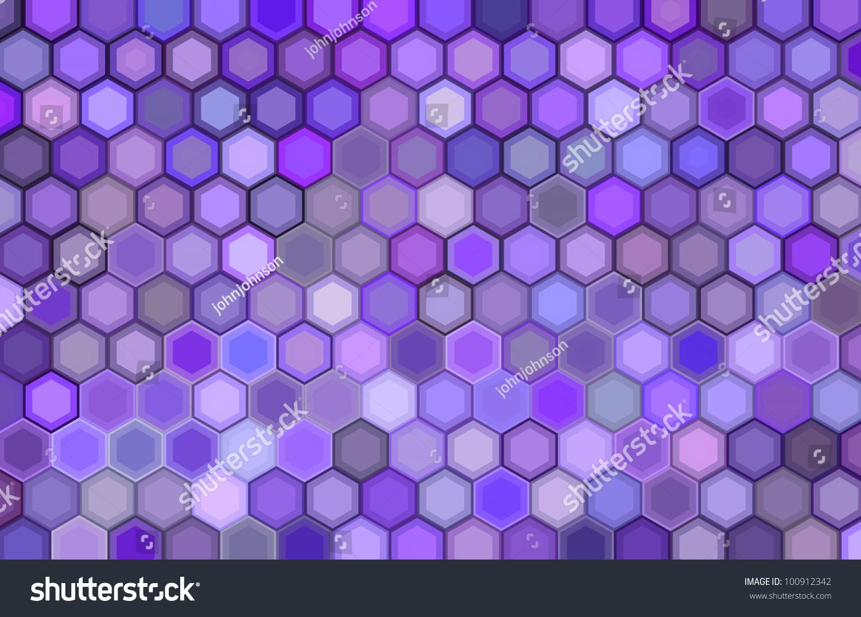 紫色的三维渲染六边形背景-背景/素材,抽象-海洛创意