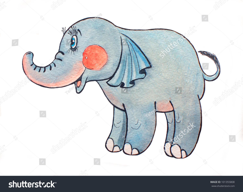 可爱的大象.水彩画.-动物/野生生物,艺术-海洛创意()