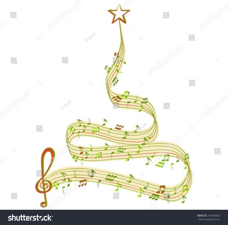 音乐的圣诞树,矢量插图-假期,艺术-海洛创意(hellorf)