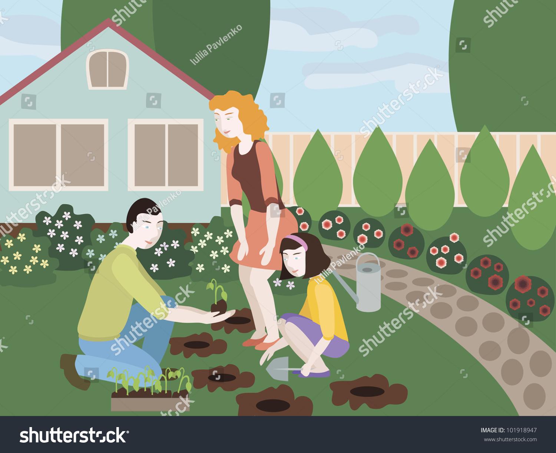 插图的父亲,母亲和女儿一起在院子里种花.对象分组,组