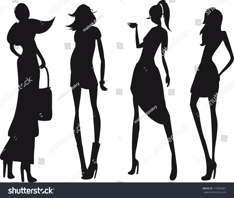 时尚女孩剪影-人物,美容/时装服饰-海洛创意(hellorf)