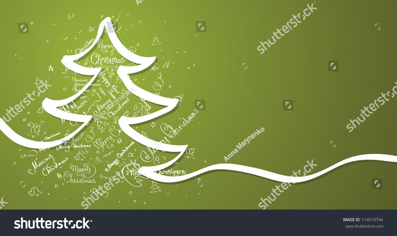 圣诞树卡片矢量背景.-背景/素材,抽象-海洛创意()-合.