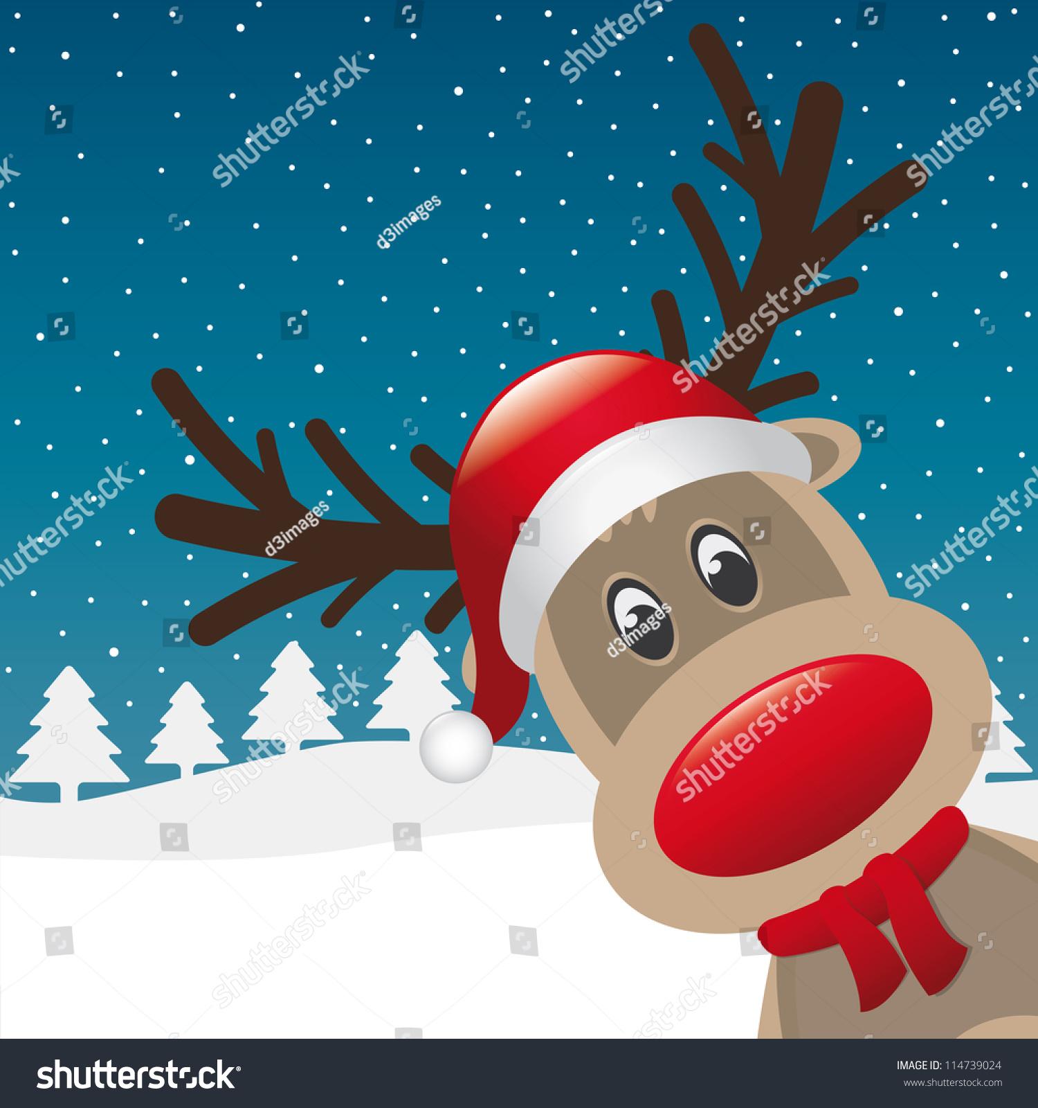 红鼻子驯鹿围巾圣诞老人的帽子-背景/素材,假期-海洛