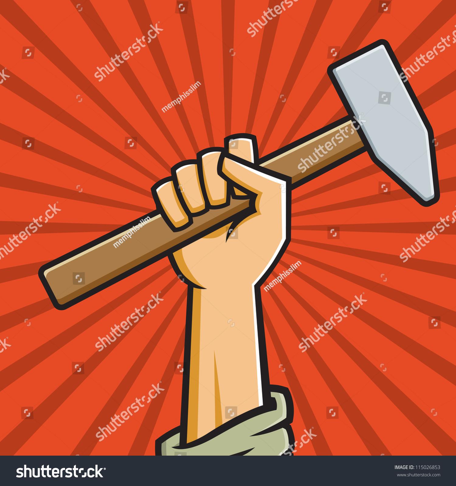 矢量图的拳头拿着锤子俄罗斯风格的建构主义的宣传海报.