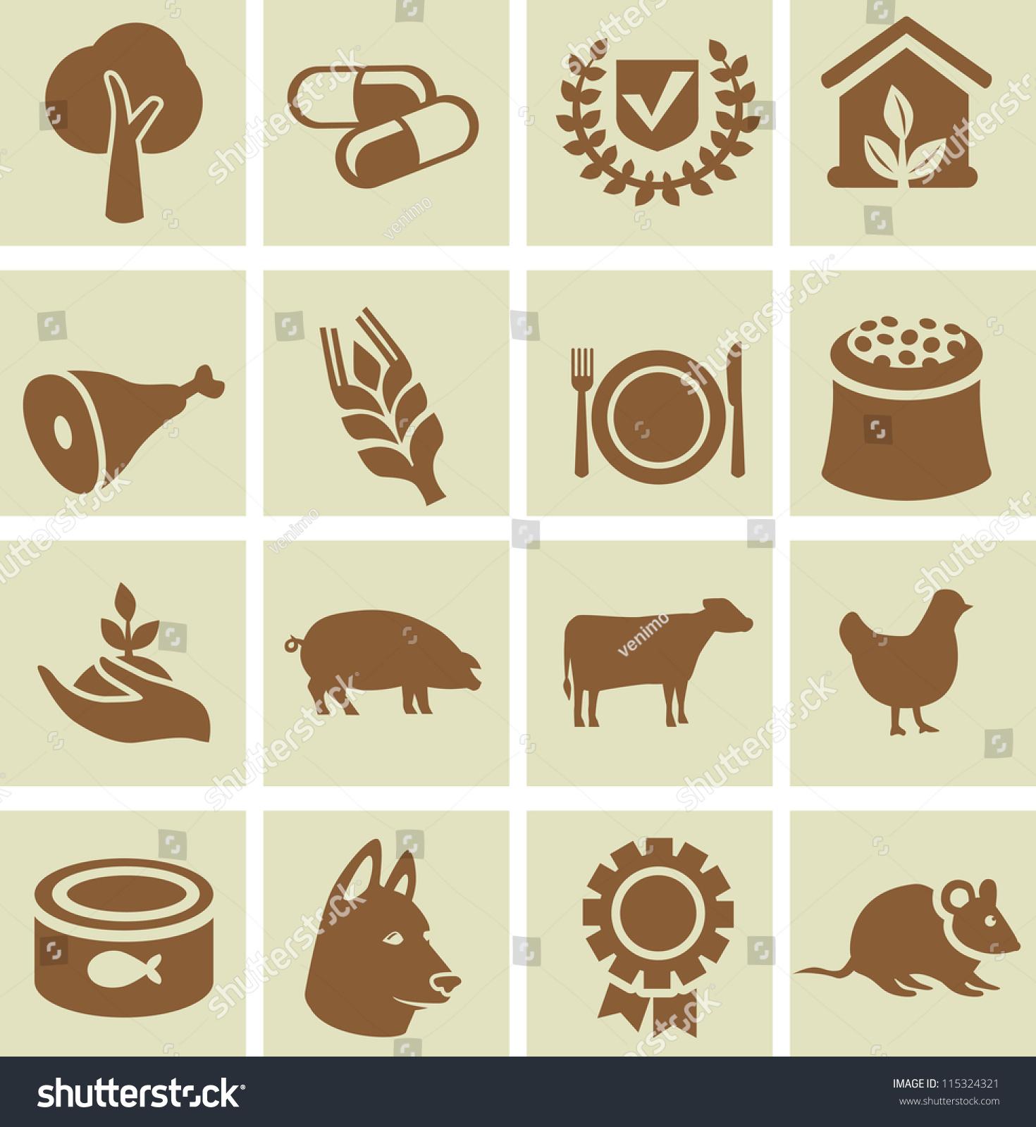 集农业图标——设计元素与动物和植物的迹象-动物