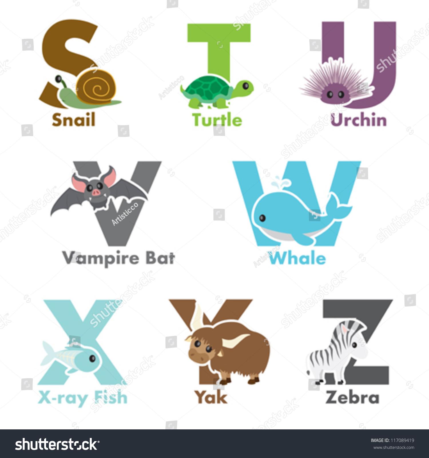 字母动物的插图