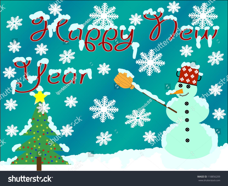 雪人和圣诞树/新年快乐-背景/素材,假期-海洛创意()-.