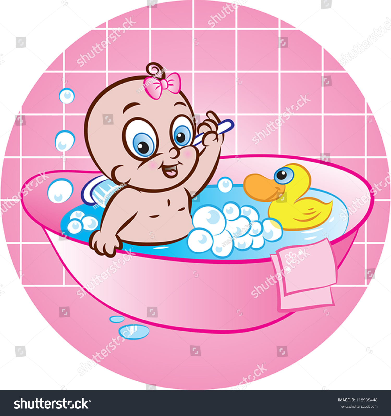 矢量插图的可爱的小女孩在浴缸洗澡-医疗保健
