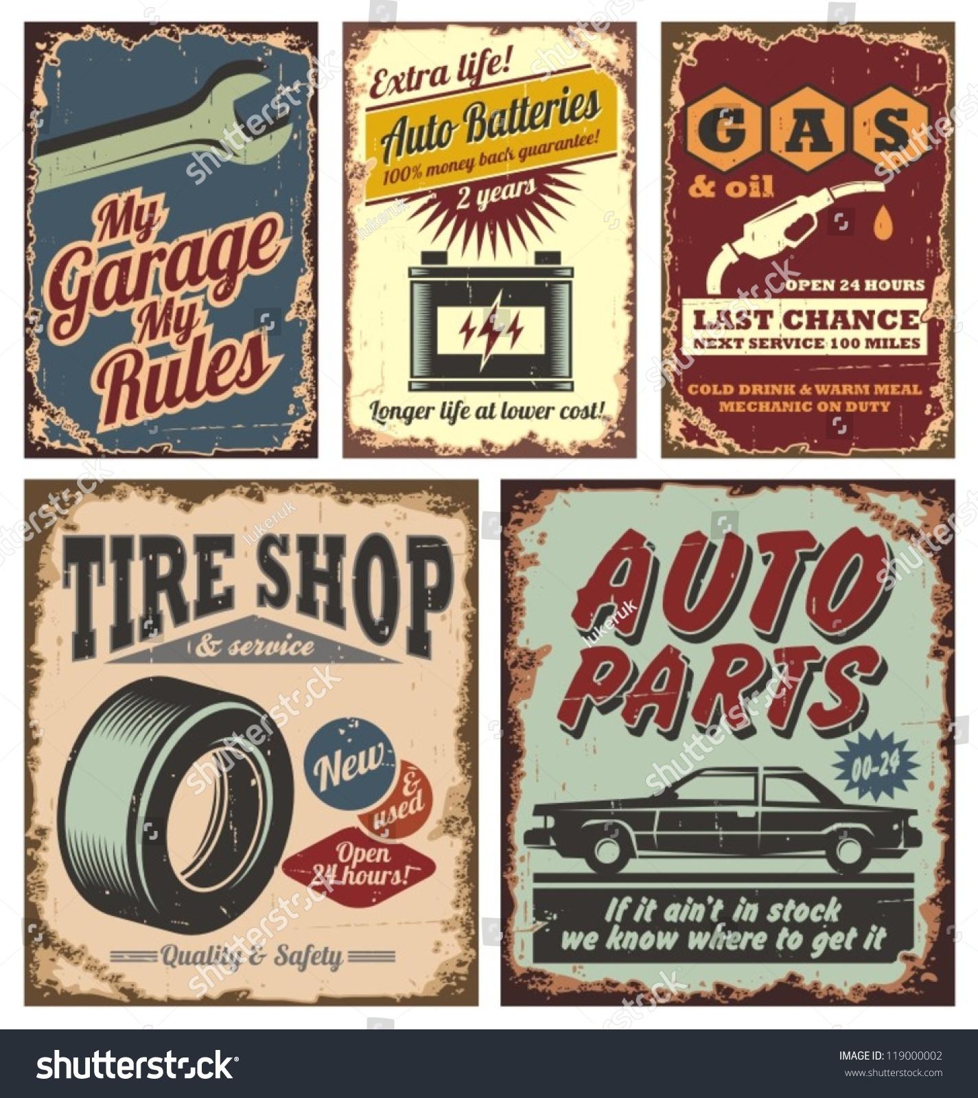 老式汽车服务金属标志和海报矢量-交通运输