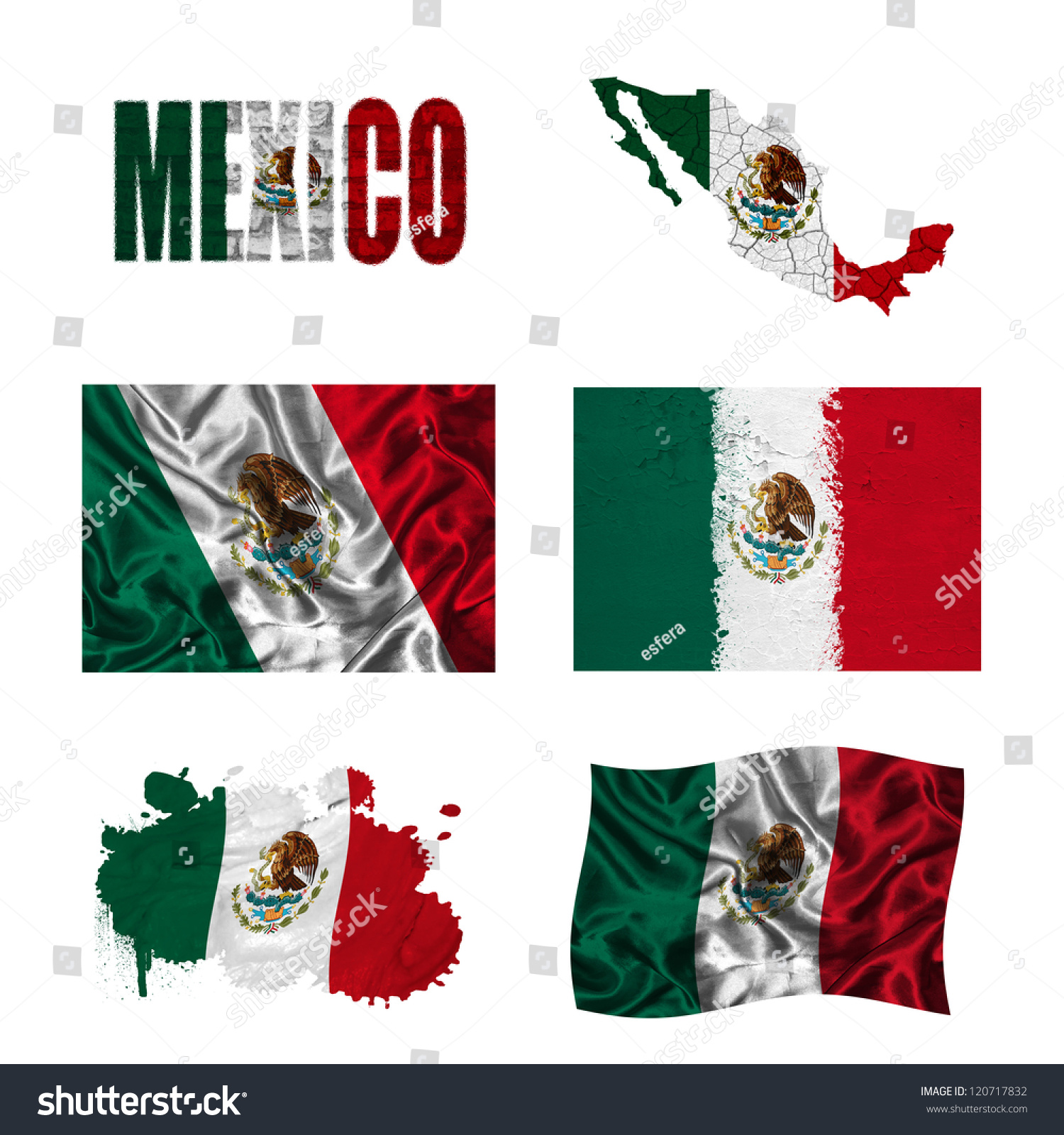 墨西哥国旗和地图在不同风格不同的纹理-符号/标志-()