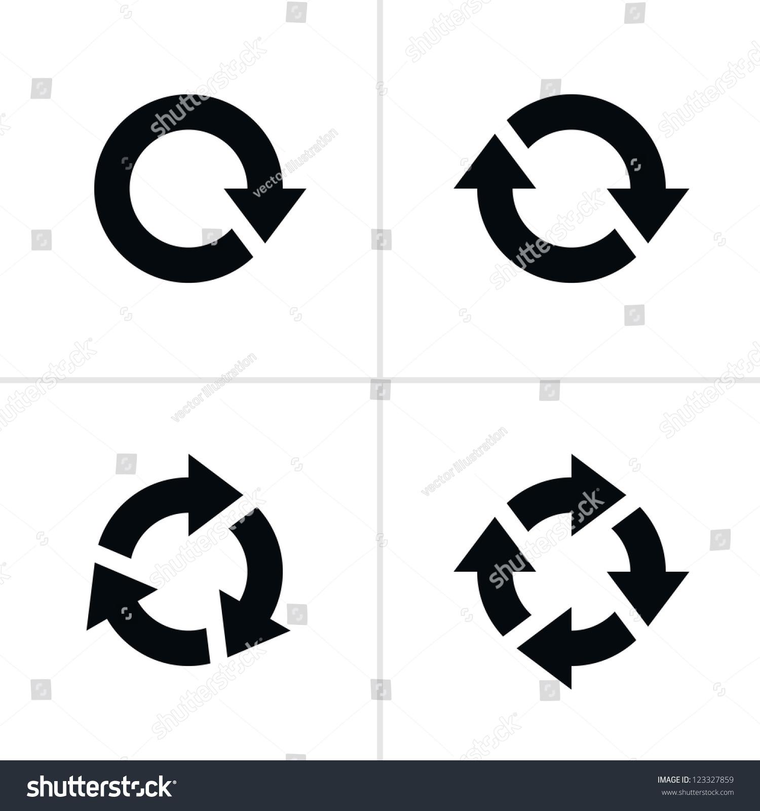 4箭头象形图刷新重载旋转循环标志.卷03.简单的黑色在