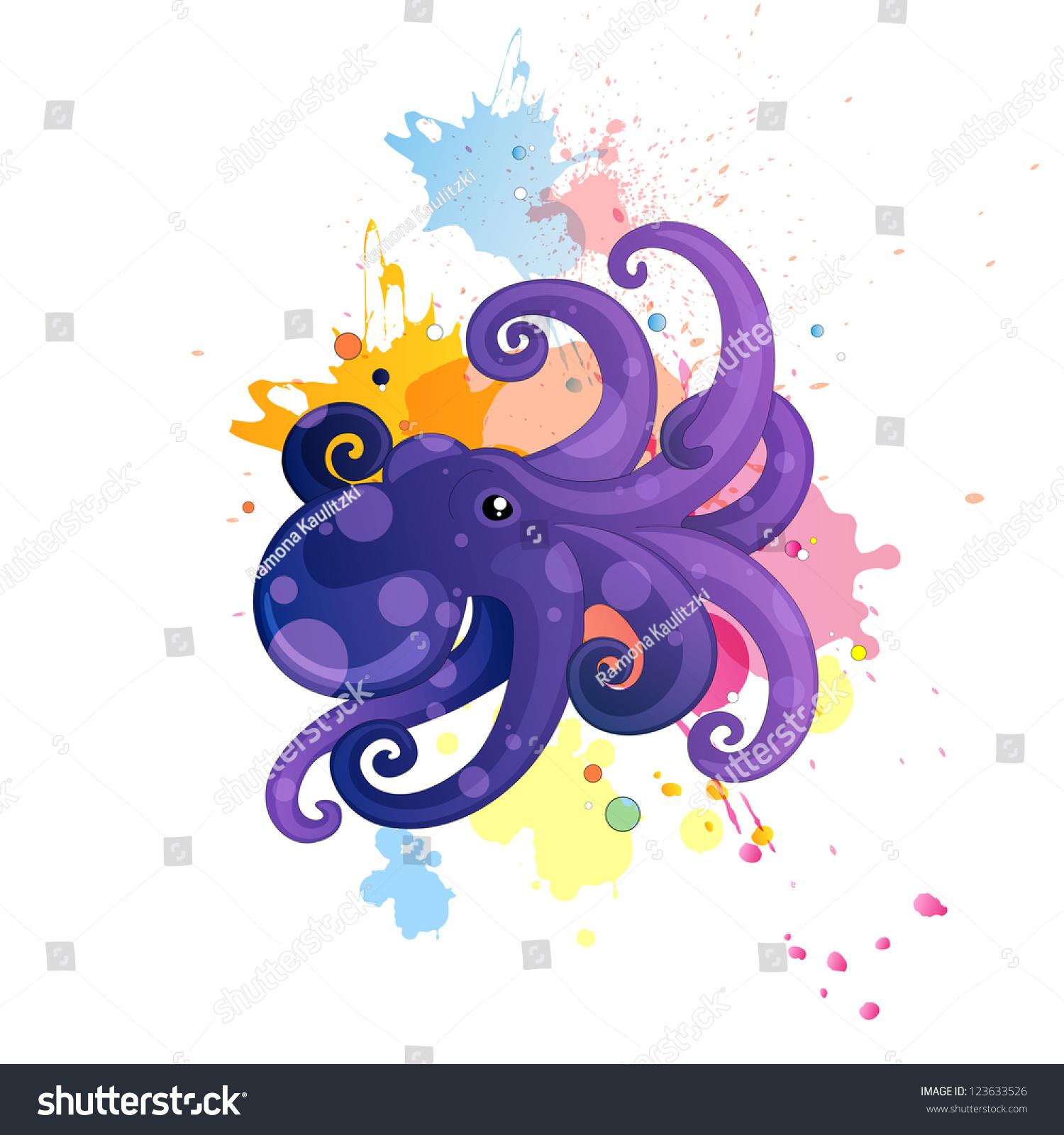 矢量插图漫画章鱼-动物/野生生物