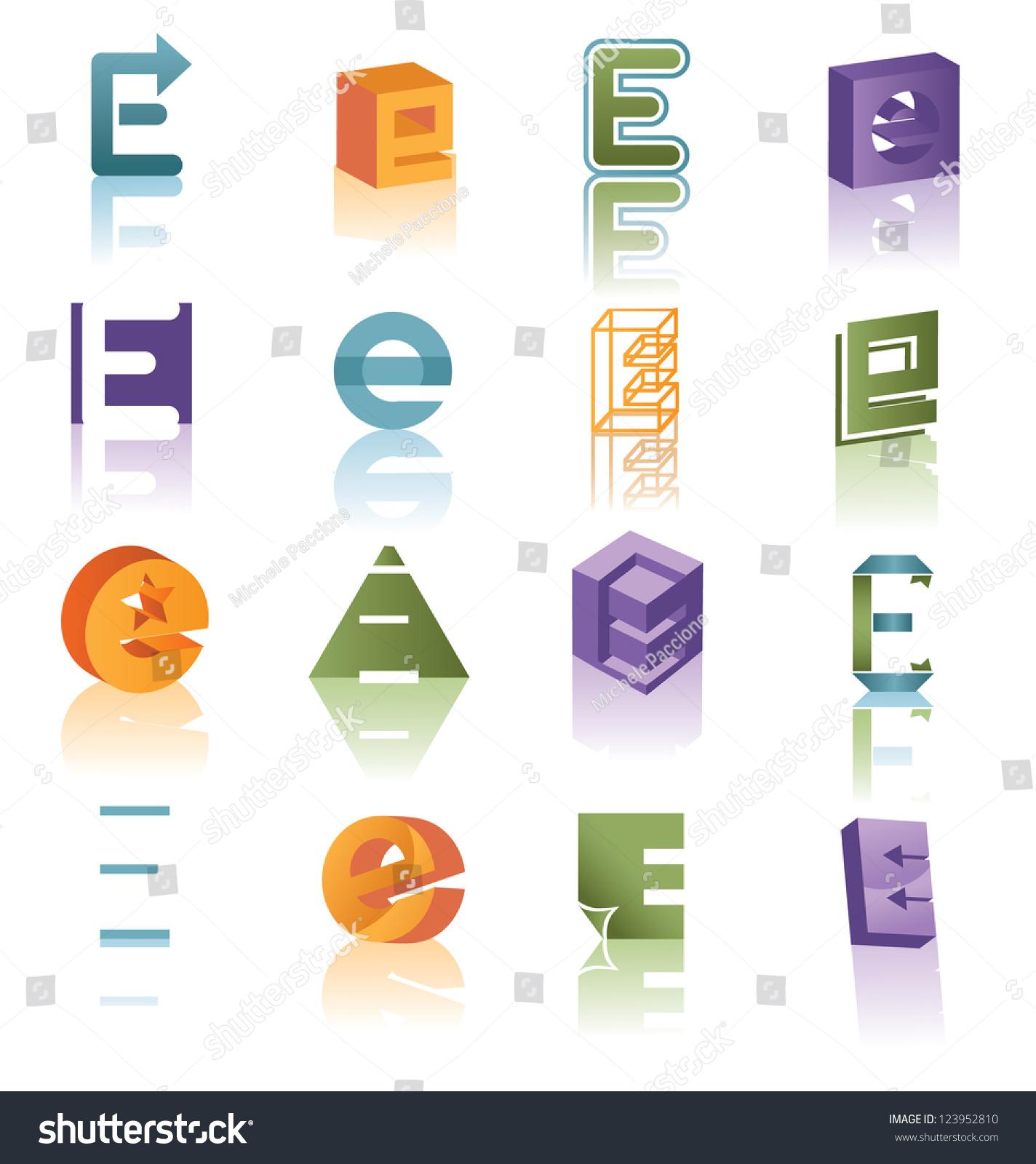 巨大的矢量图标符号设置字母-物体,抽象-海洛创意()-.