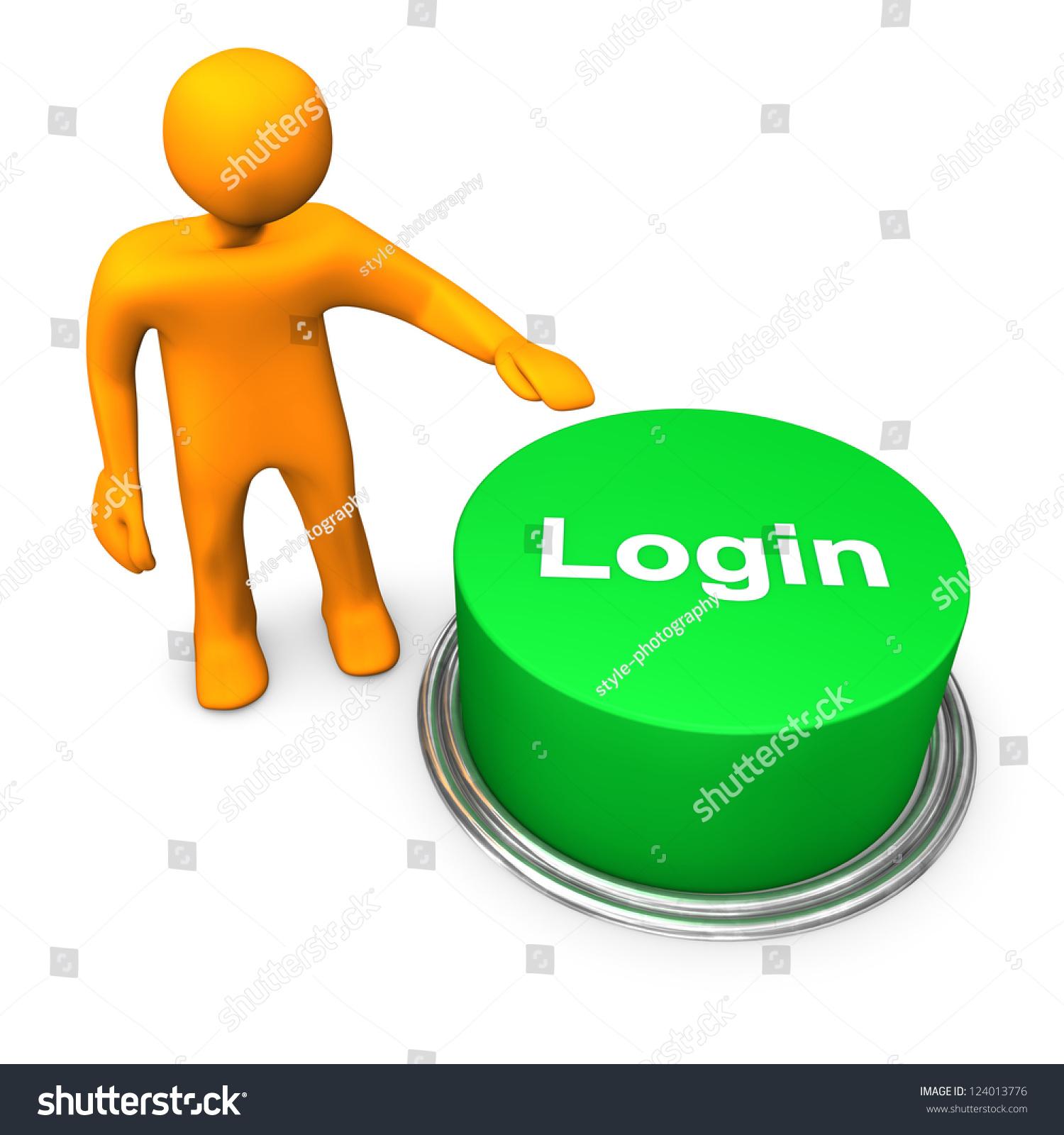 """橙色卡通人物与绿色按钮""""登录"""".-商业/金融-海洛创意"""