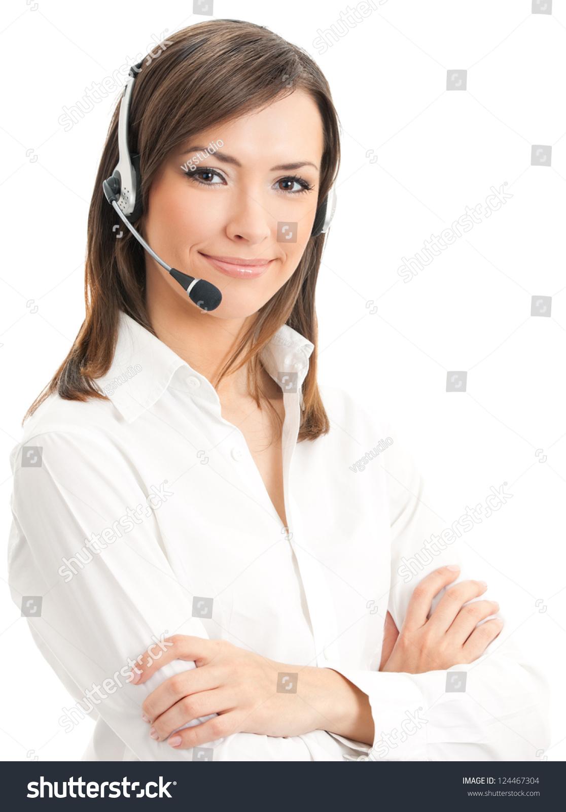 微笑的支持电话接线员