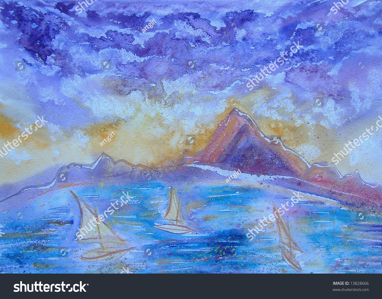 手画埃及海景山脉和船只-其它
