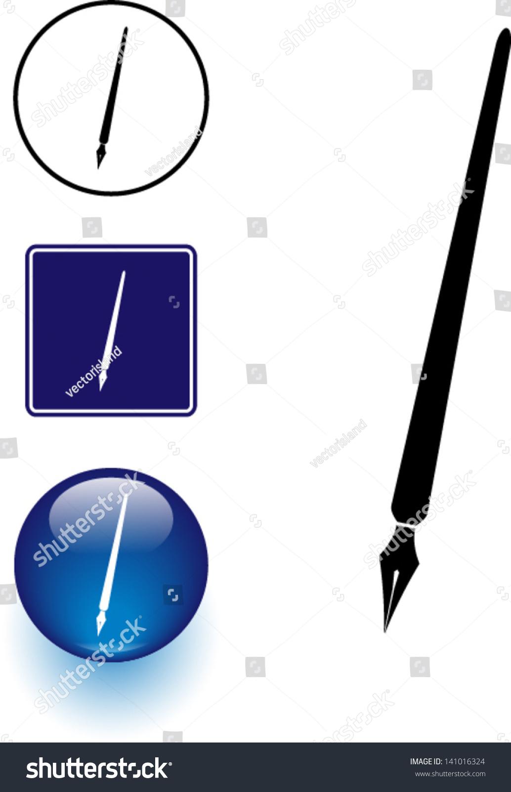 羽毛筆象征符號和按鈕-符號/標志,其它-海洛創意()-合
