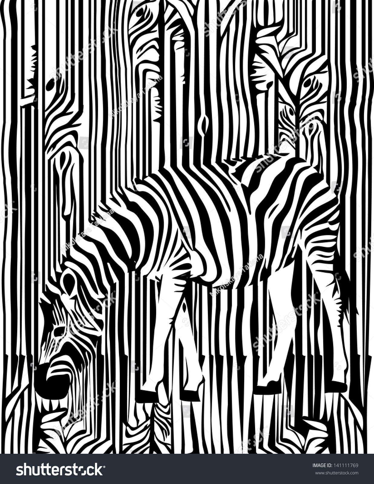 斑马在森林里-动物/野生生物,背景/素材-海洛创意()-.