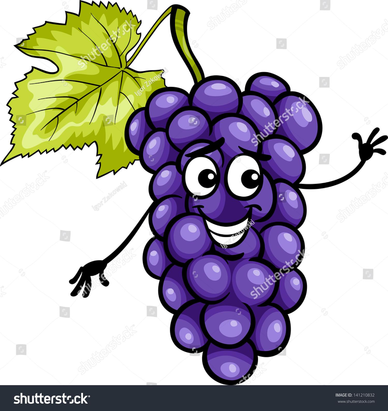 卡通插图的滑稽的蓝色或黑色的葡萄水果食品漫画人物