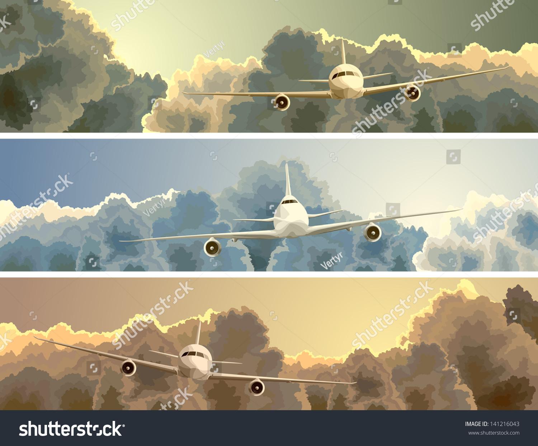 大飞机云在日落的背景