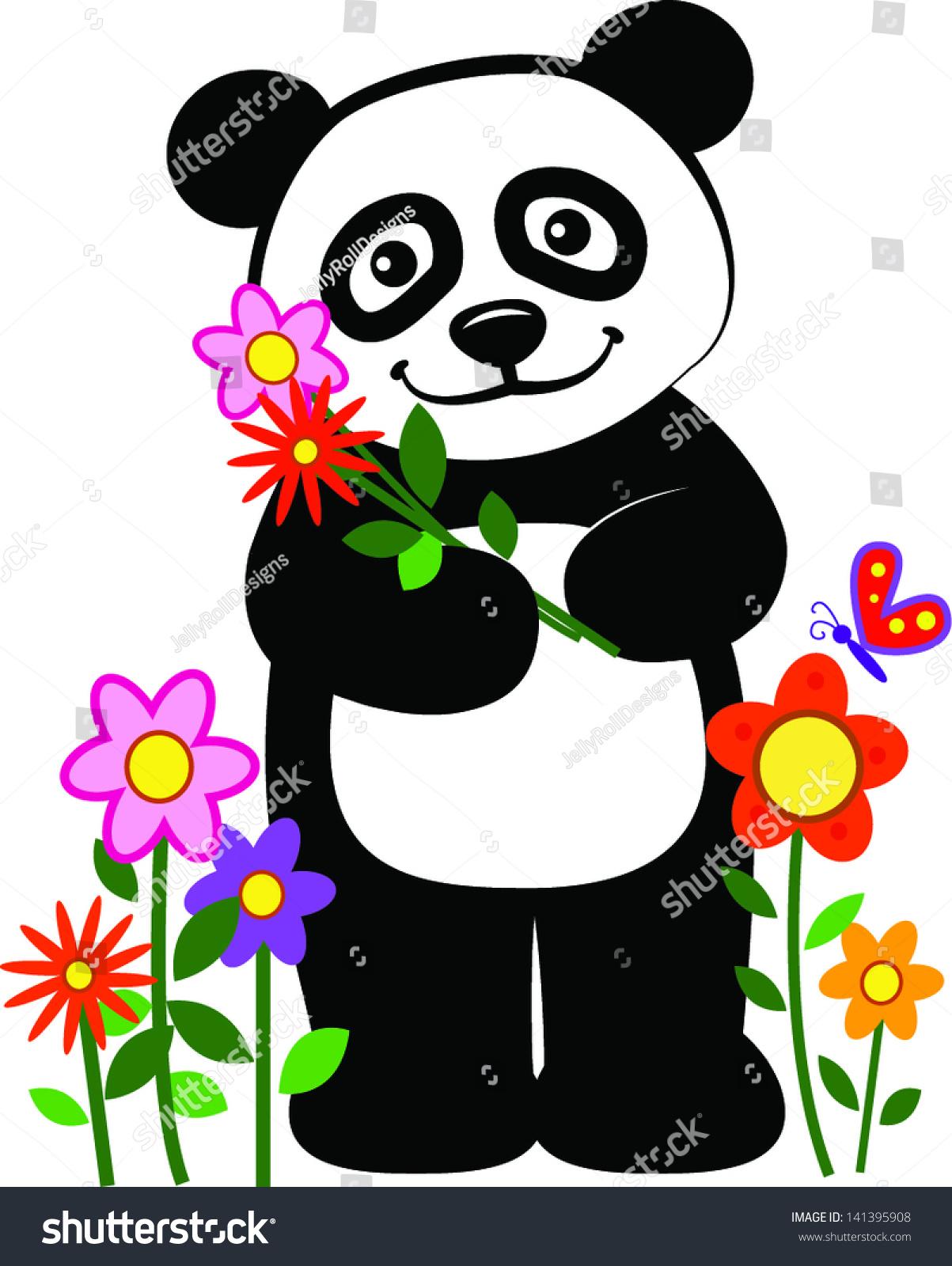 微笑的熊猫拿着鲜花.每股收益10-动物/野生生物,自然