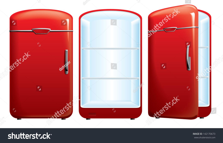 红冰箱矢量图-物体,复古风格-海洛创意(hellorf)
