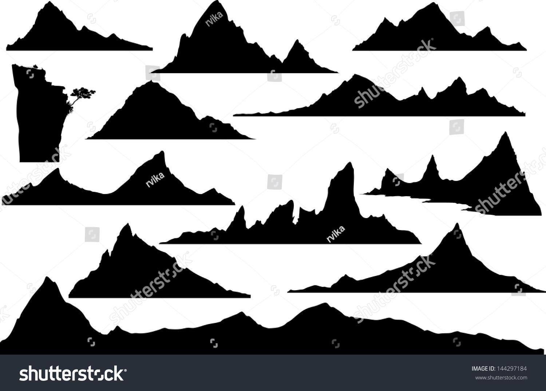 手绘轮廓山设计
