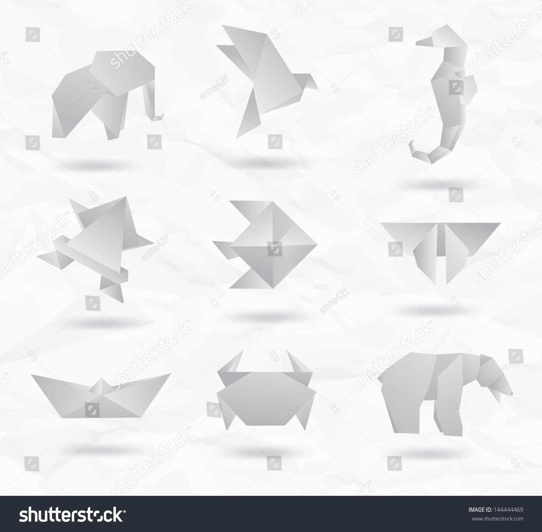从纸套白色折纸动物符号:大象,小鸟,海马,鱼,蝴蝶,熊,螃蟹,鱼