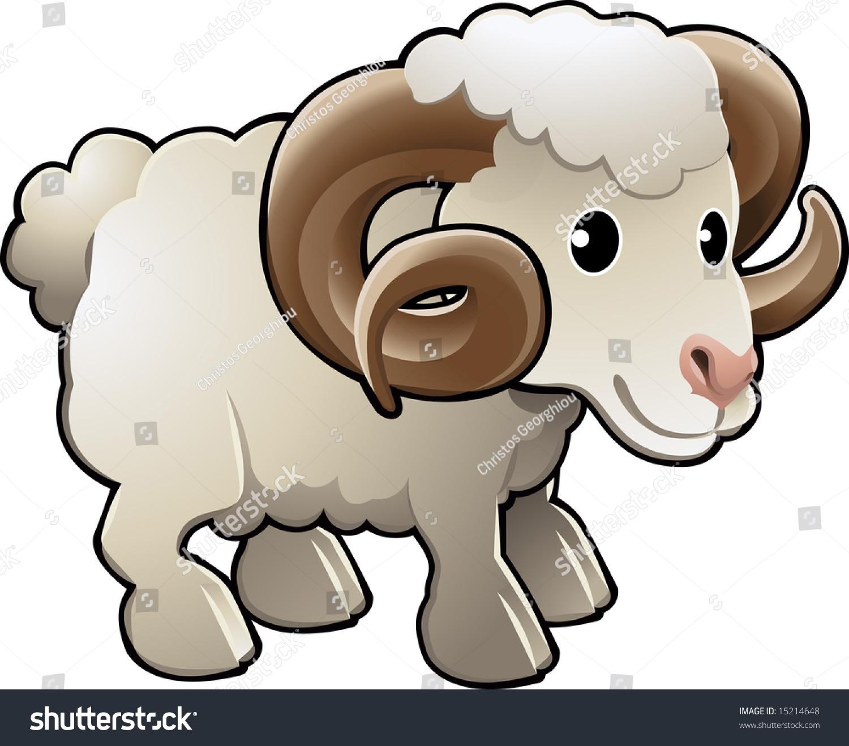 一只可爱的绵羊绵羊农场动物插图-动物/野生生物