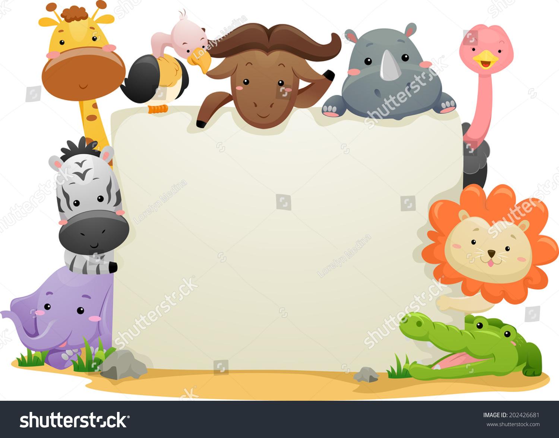 横幅插图以可爱的狩猎动物-动物/野生生物,背景/素材