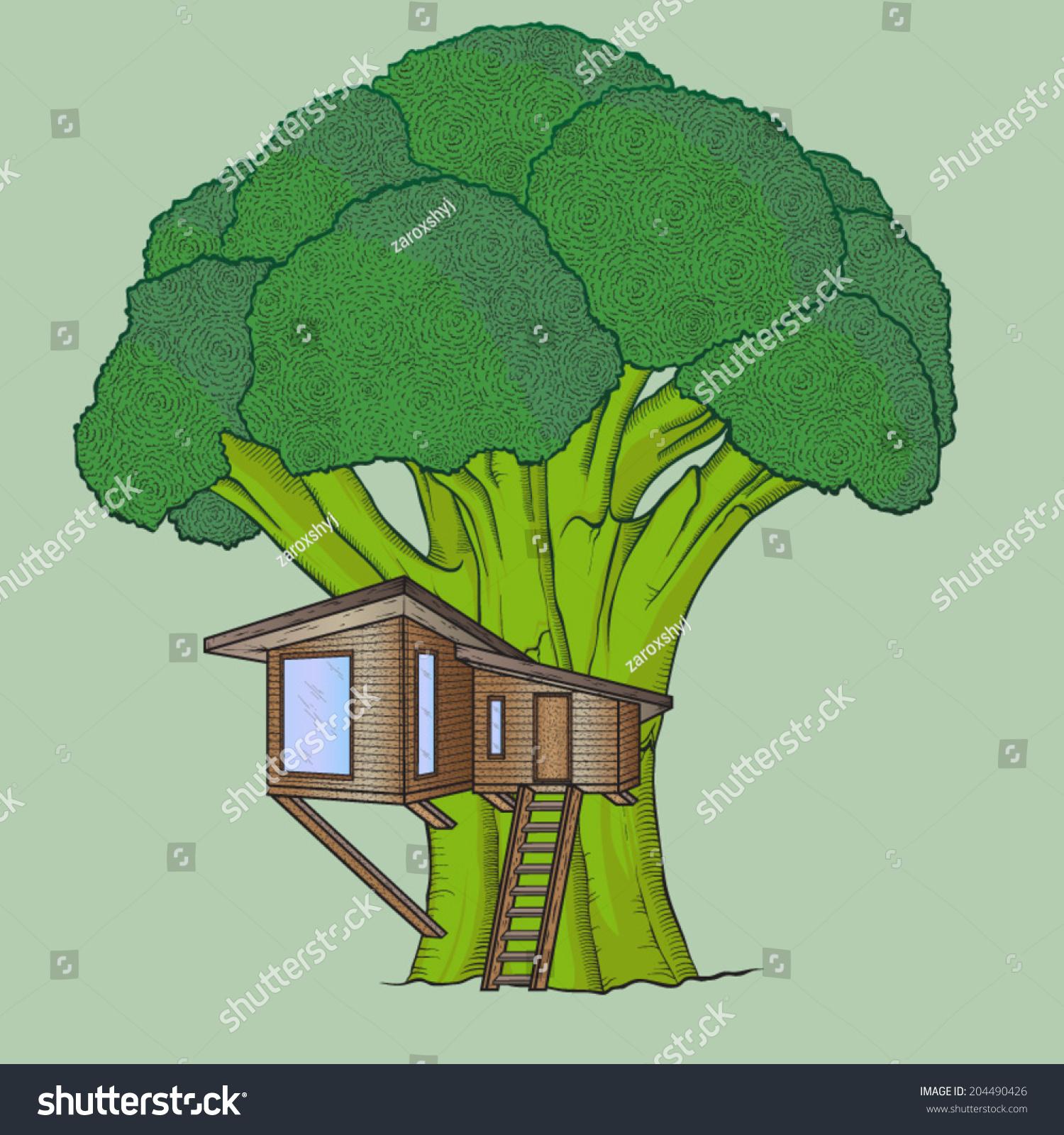 eco-house西兰花树,手绘,矢量插图