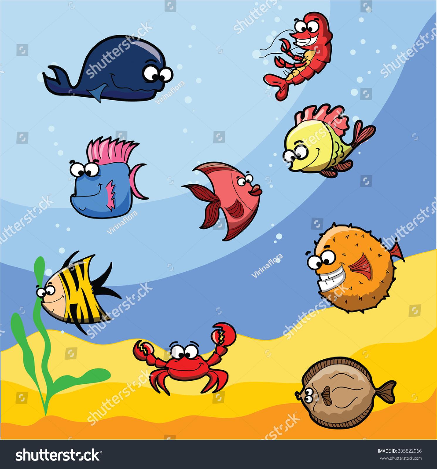 卡通可爱的海洋鱼类-动物/野生生物
