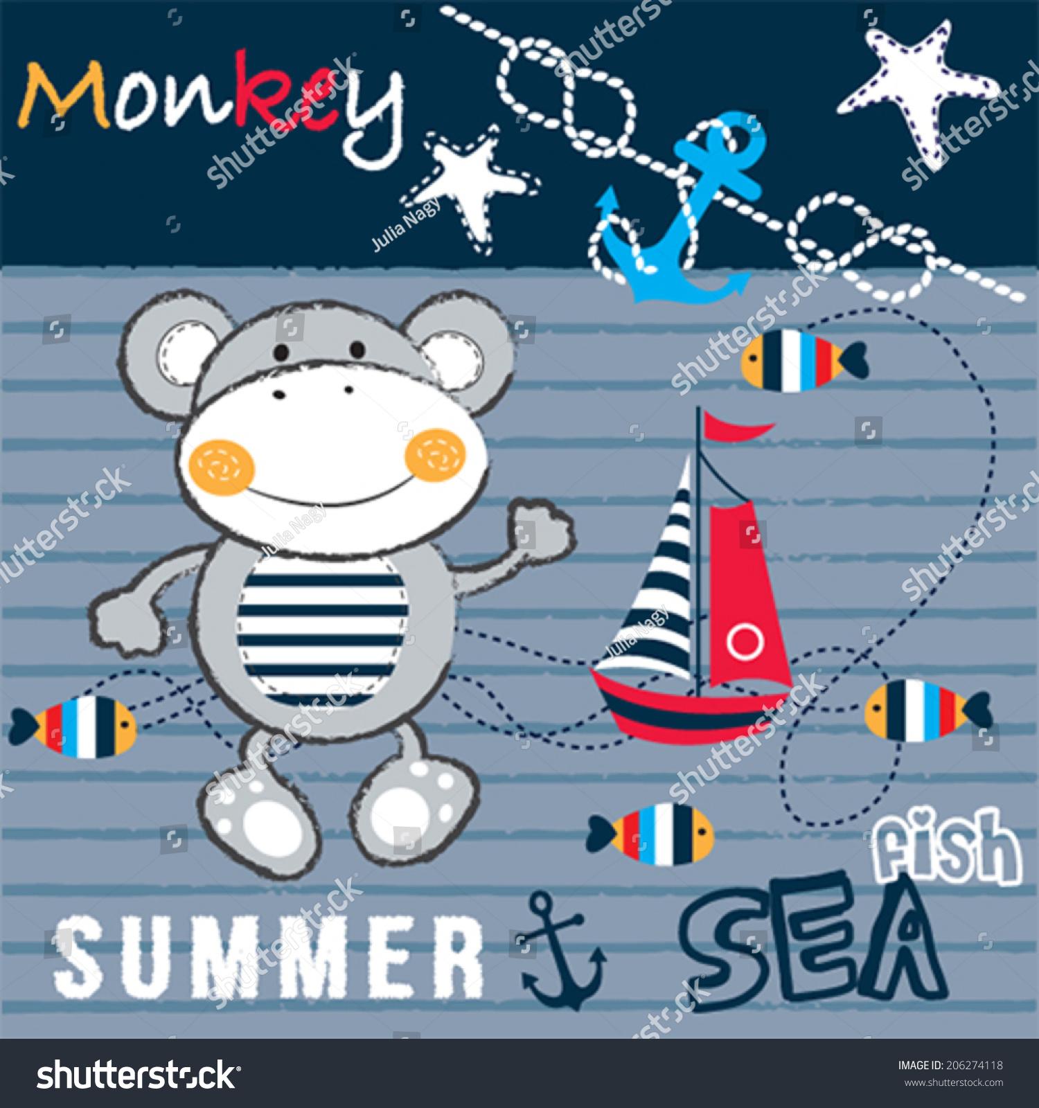可爱的水手猴子鱼帆船条纹背景矢量图-动物/野生生物