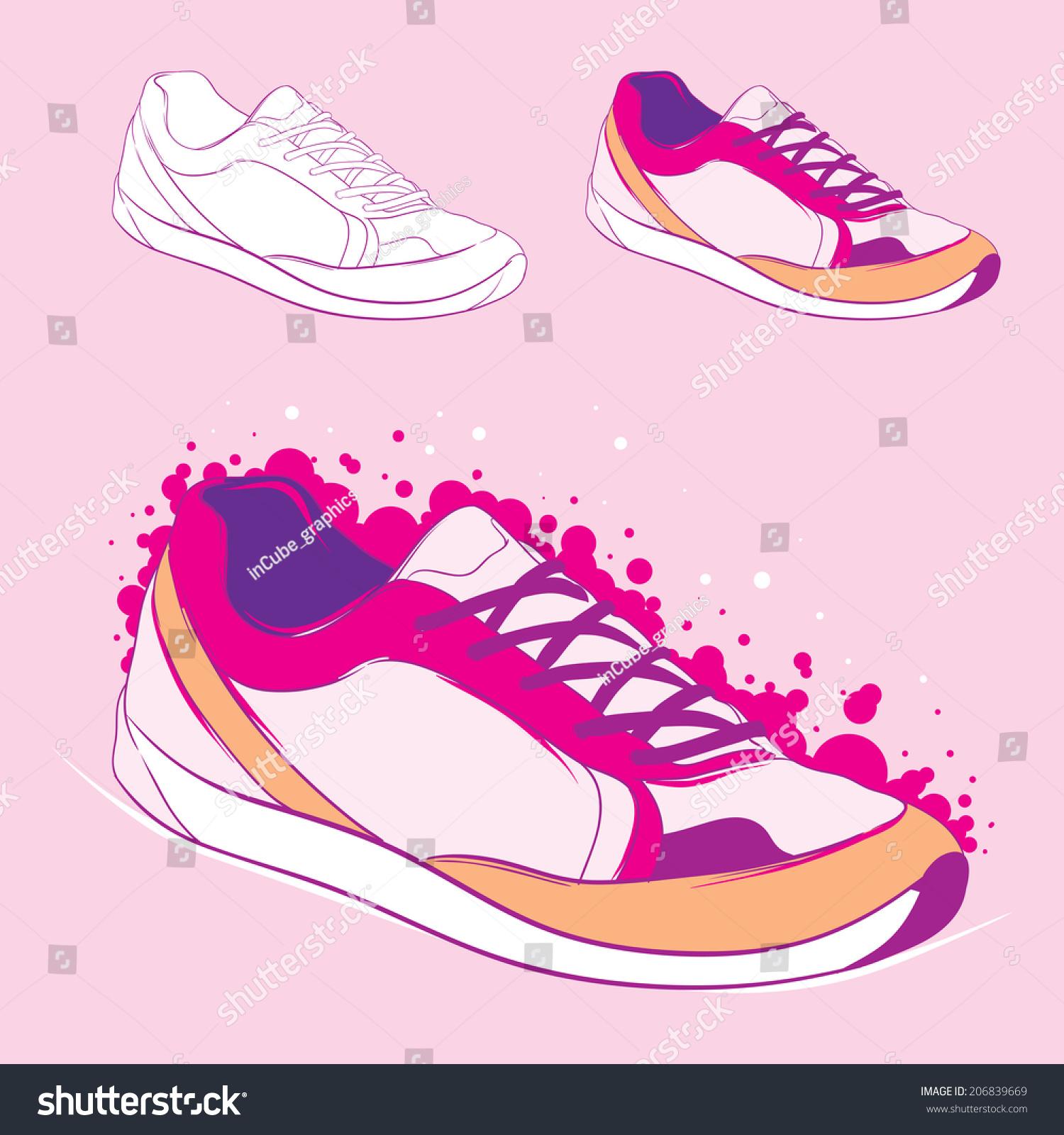 运动鞋侧面矢量图