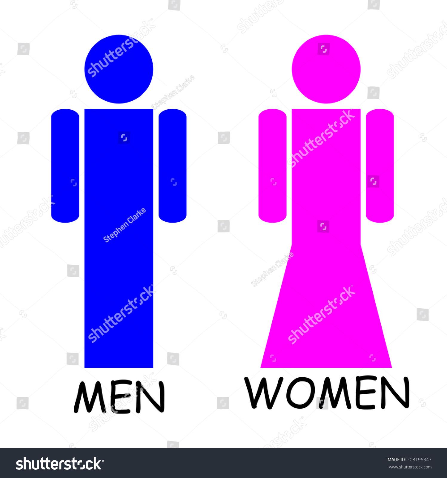 男女厕所的迹象——粉色和蓝色-符号/标志