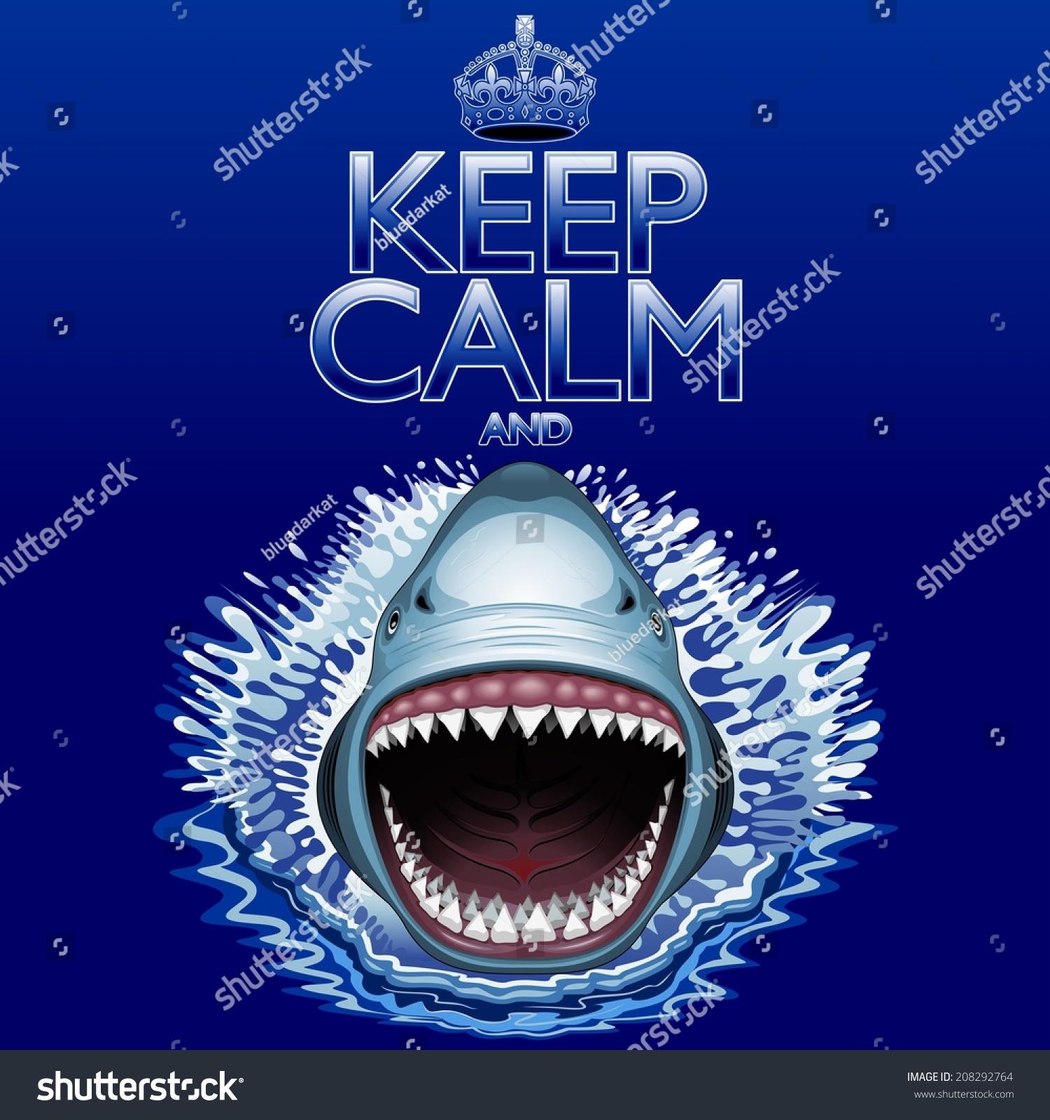 保持冷静和…鲨鱼攻击!-背景/素材,抽象-海洛创意()-.