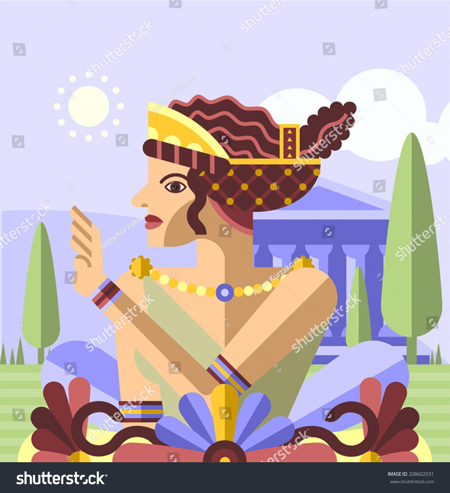 古希腊向量的女王-背景/素材,人物-海洛创意(hellorf)