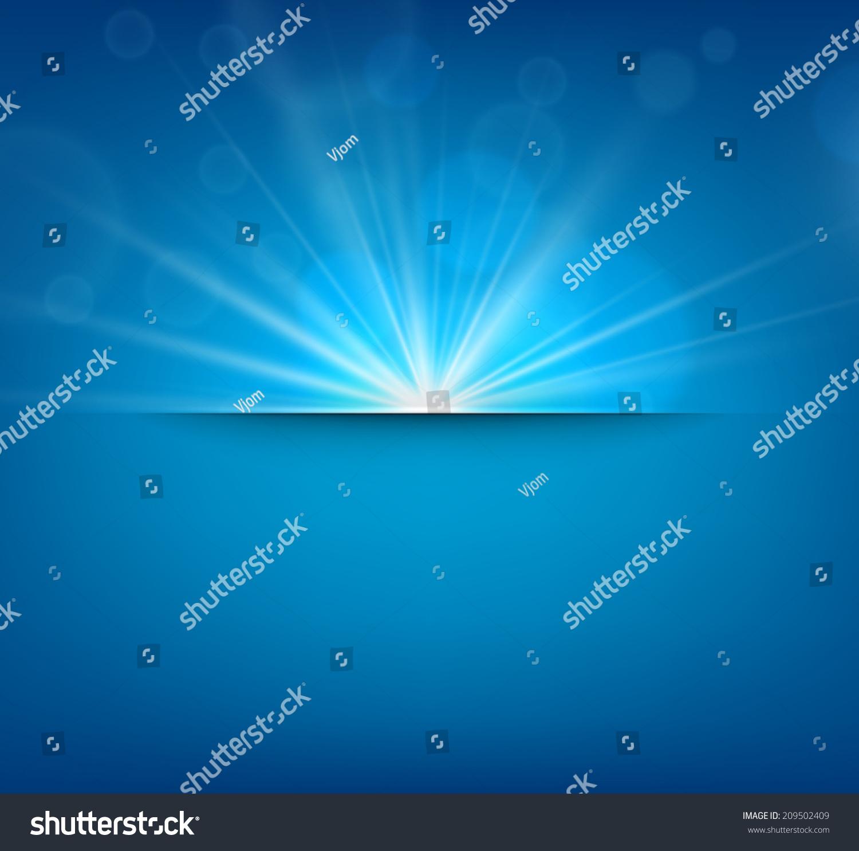 蓝色抽象模糊的背景与太阳眩光.矢量插图