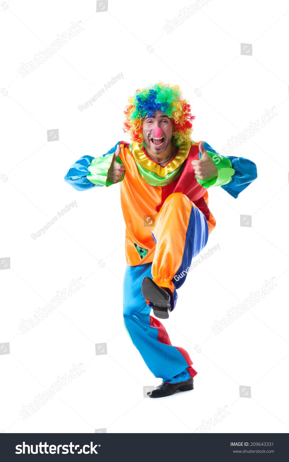 可爱的小丑的形象展示竖起大拇指-人物,美容/时装服饰