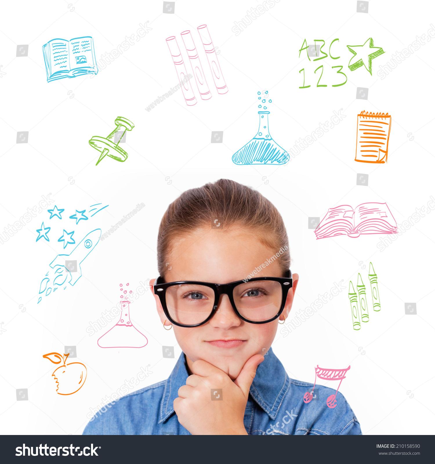 可爱的小学生思维对学习科目的涂鸦-人物,抽象-海洛()