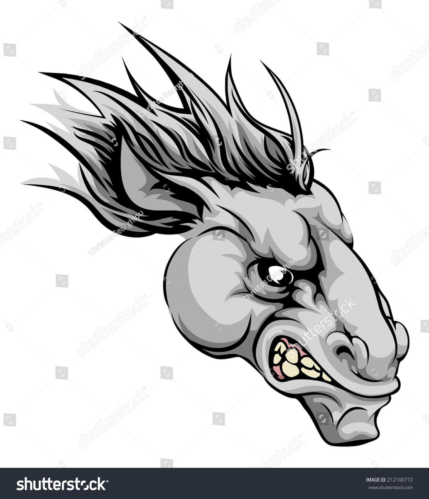 激烈的插图马动物角色或体育吉祥物-动物/野生生物