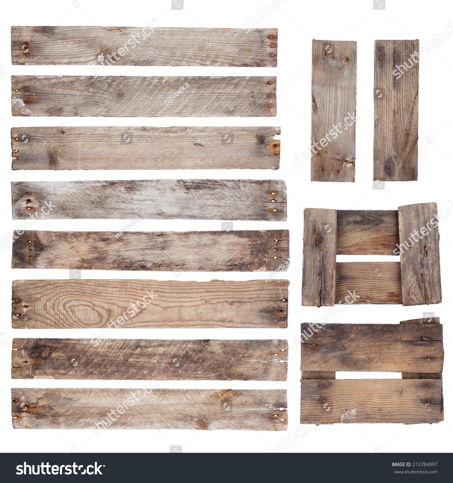 风化的旧木板和钉子孤立在白色背景的乡村-物体,复古