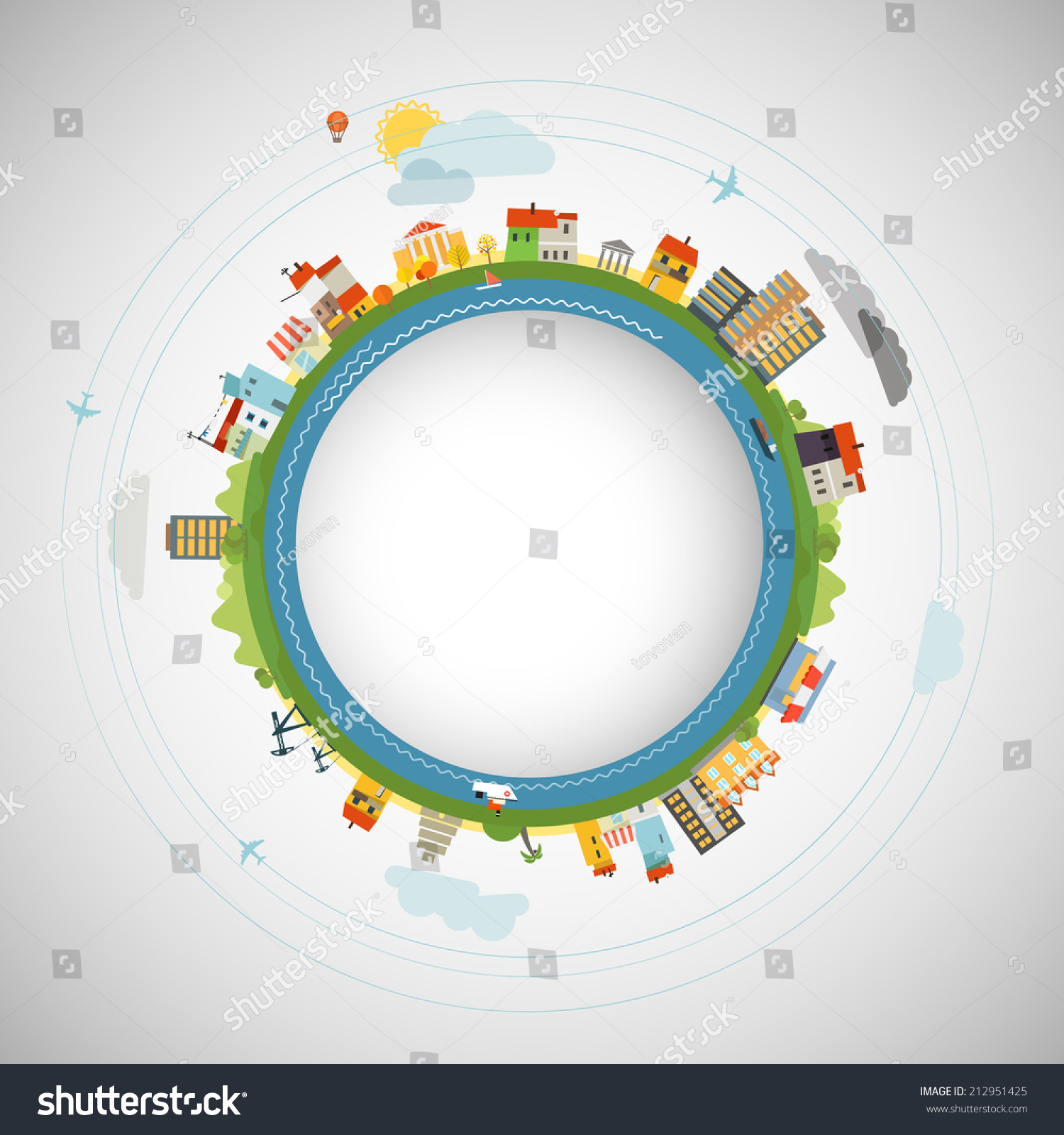 地球的平面设计说明-建筑物/地标