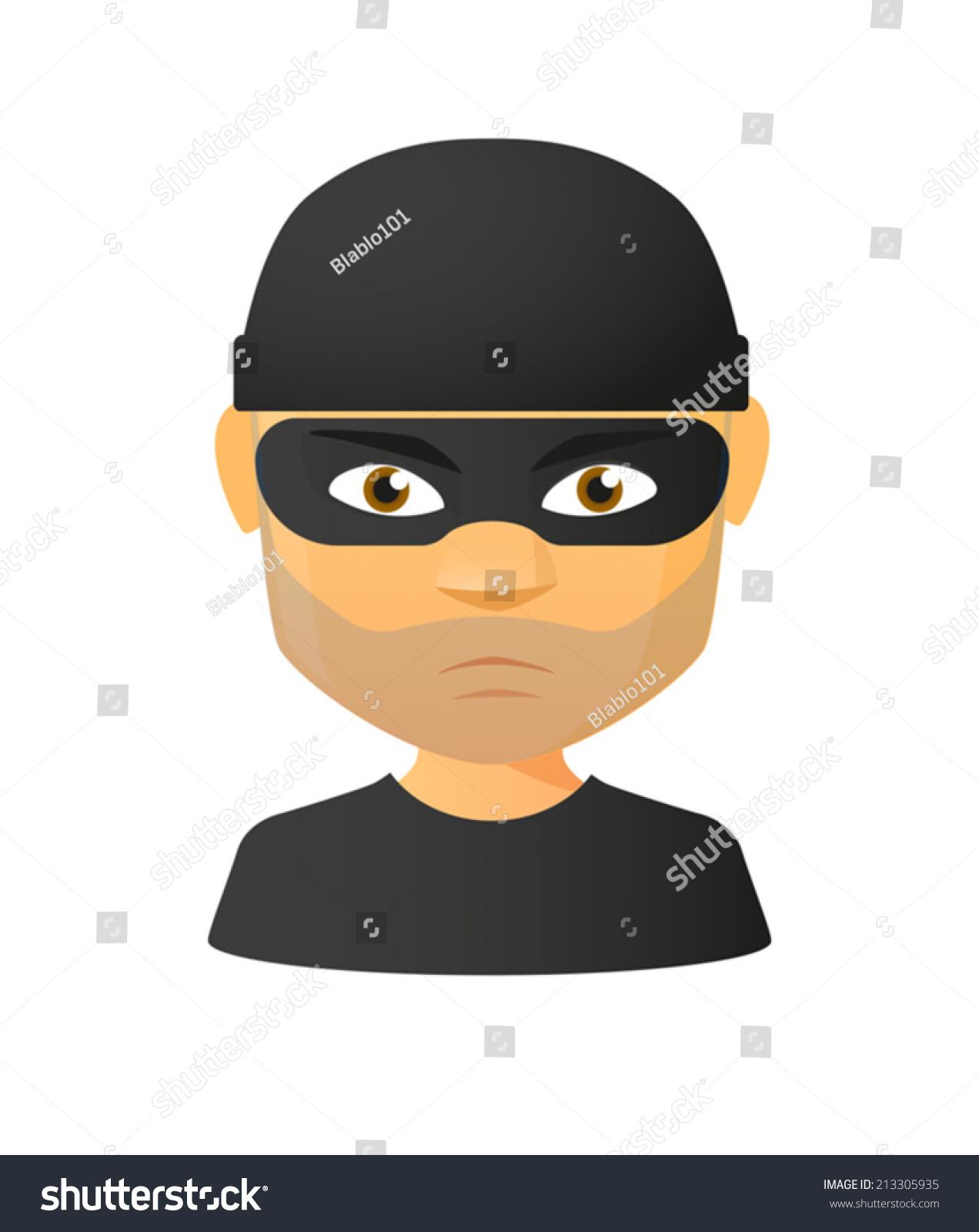 一个孤立的男性小偷头像插图-人物,其它-海洛创意()-.